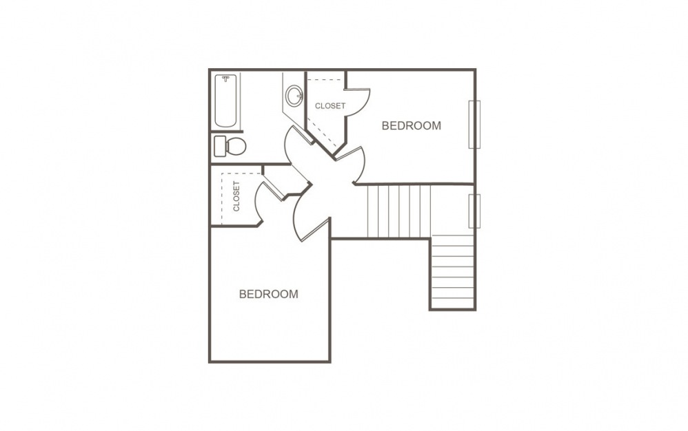 C 3 Bed 2 Bath Floorplan